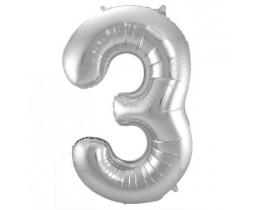Grote Folieballon 3 zilver