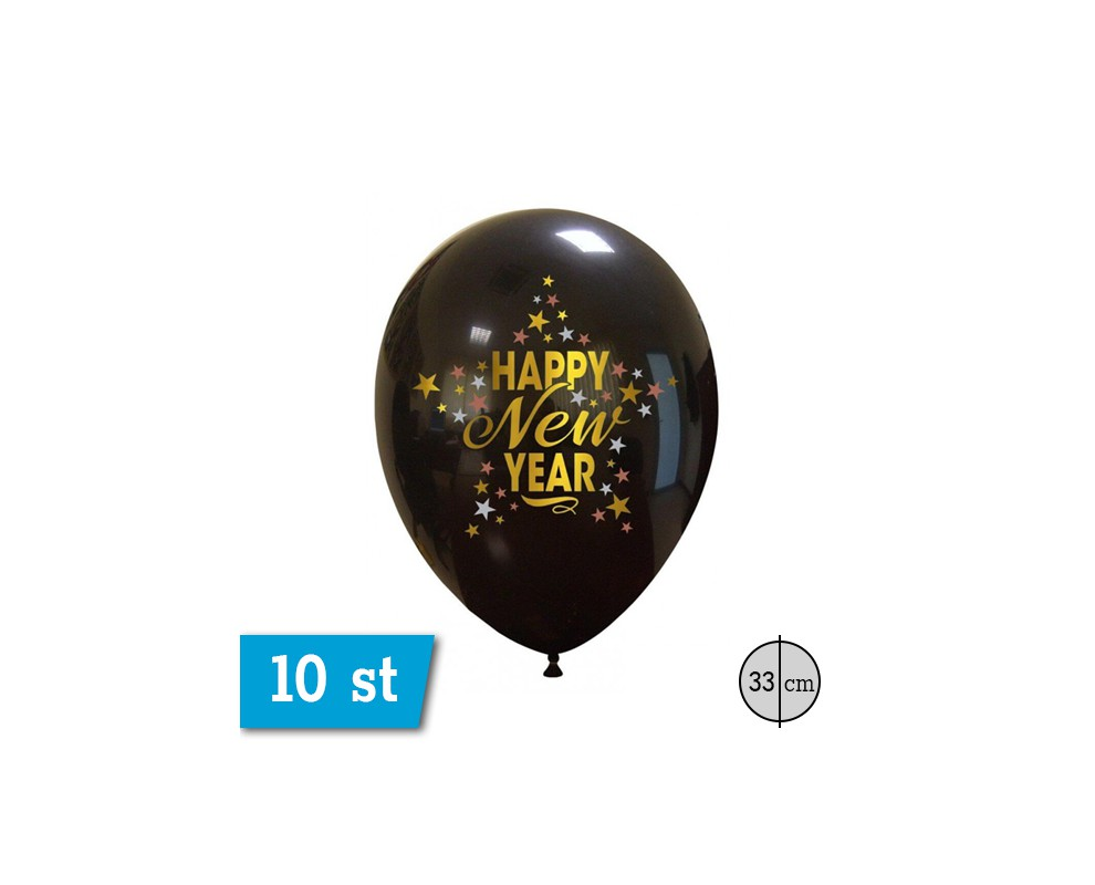 Ballonnen Happy New Year zwart