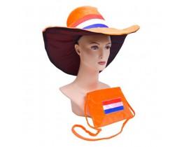 Hoed Oranje met tas