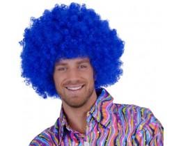 Pruik Afro blauw XL