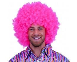 Super Afro pruik roze