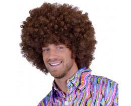 Pruik Afro bruin XL