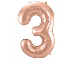 folieballon 3 rose goud