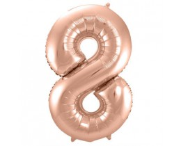 Folieballon 8 rose goud