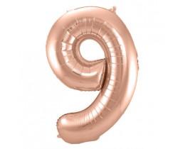 Folieballon 9 rose goud