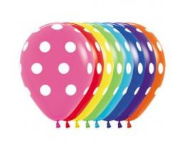 Ballon Polka Dots wit 30 cm.