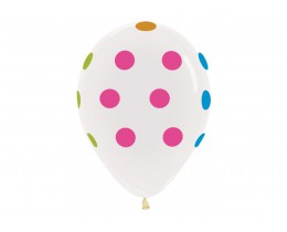 Ballon Neon Polka dots Crystal clear 30cm