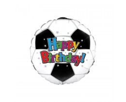 Folieballon Happy Birthday voetbal