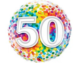 Folieballon 50 regenboog confetti