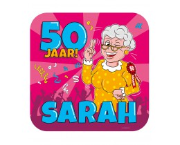 Huldeschild Sarah Cartoon