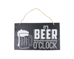 Leisteen bordje Beer o' Clock