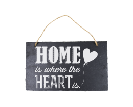 Leisteen bordje Home is where the Heart is