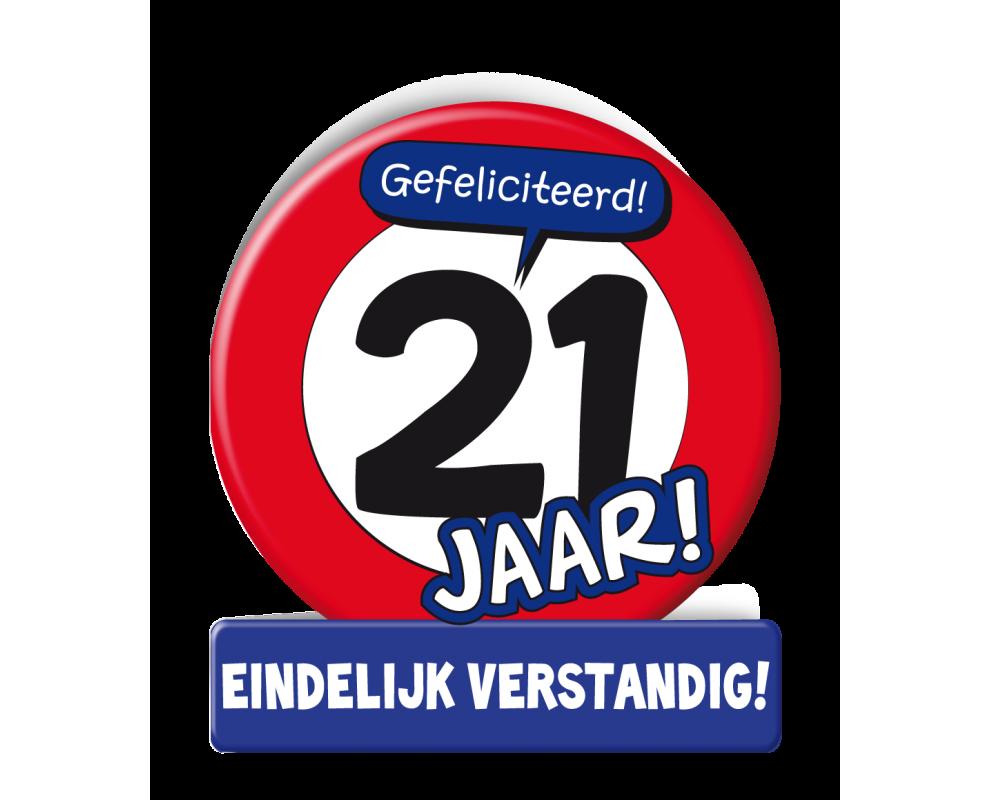 Wenskaart 21 jaar Verkeersbord