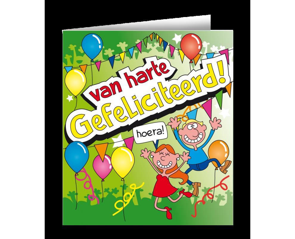 Wenskaart Gefeliciteerd Cartoon