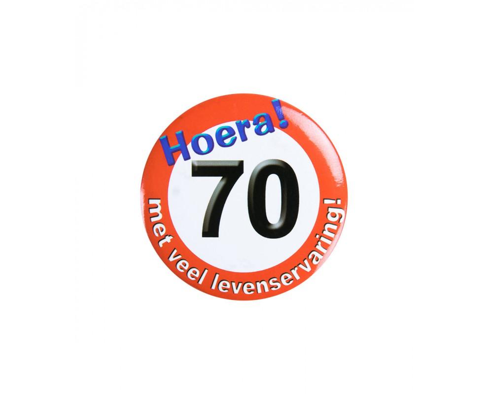 Button 70 jaar Verkeersbord