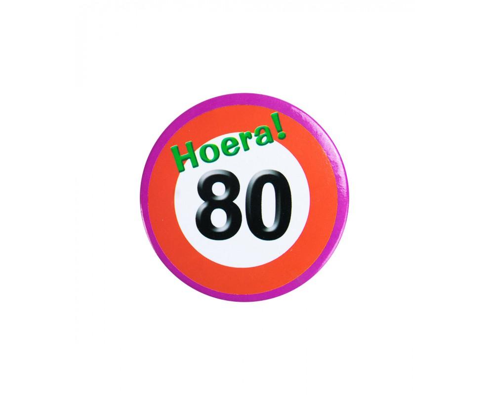 Button 80 jaar Verkeersbord