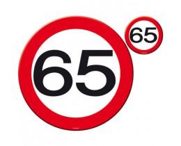 Verkeersbord 65 jaar groot