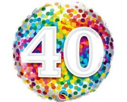 Folieballon 40 Regenboog Confetti