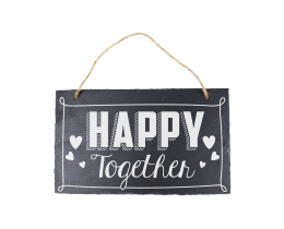 Leisteen bordje Happy together