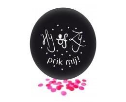 Ballon Hij of Zij roze
