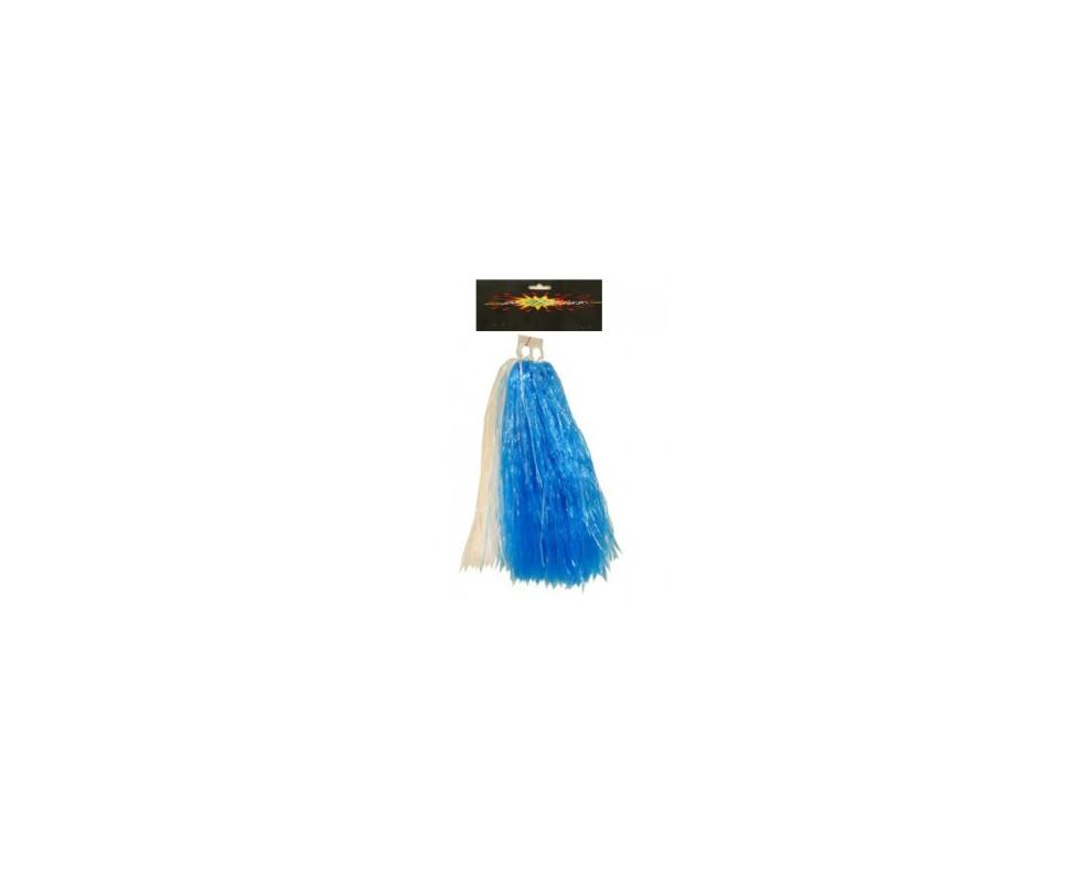 Pompon blauw wit
