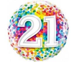 Folieballon 21 Regenboog Confetti