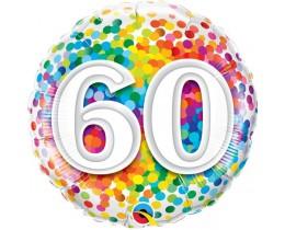 Folieballon 60 Regenboog Confetti