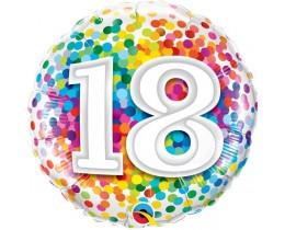 Folieballon 18 Regenboog Confetti