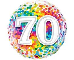 Folieballon 70 Regenboog Confetti