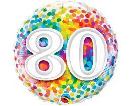 Folieballon 80 Regenboog Confetti