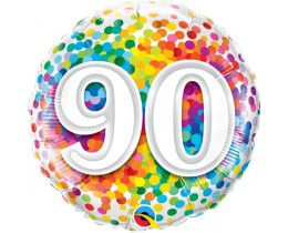 Folieballon 90 Regenboog Confetti