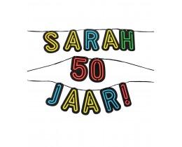 Neon Letterslinger Sarah 50 jaar