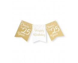 Vlaggenlijn 25 jaar goud en wit
