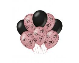 Ballonnen 80 jaar rosé goud en zwart