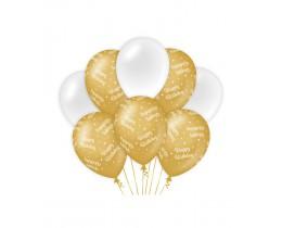 Ballonnen Happy Birthday goud en wit
