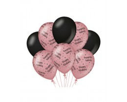 Ballonnen Happy Birthday rosé goud en zwart
