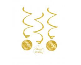 Swirl decoratie 30 jaar goud en wit