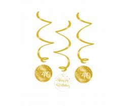 Swirl decoratie 40 jaar goud en wit
