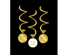 Swirl decoratie 60 jaar goud en wit
