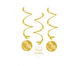 Swirl decoratie 65 jaar goud en wit