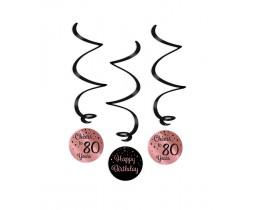 Swirl decoratie 80 jaar rosé goud en zwart