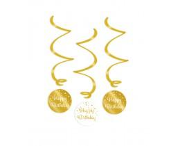 Swirl decoratie Happy Birthday goud en wit