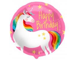 Folieballon Happy Birthday Eenhoorn